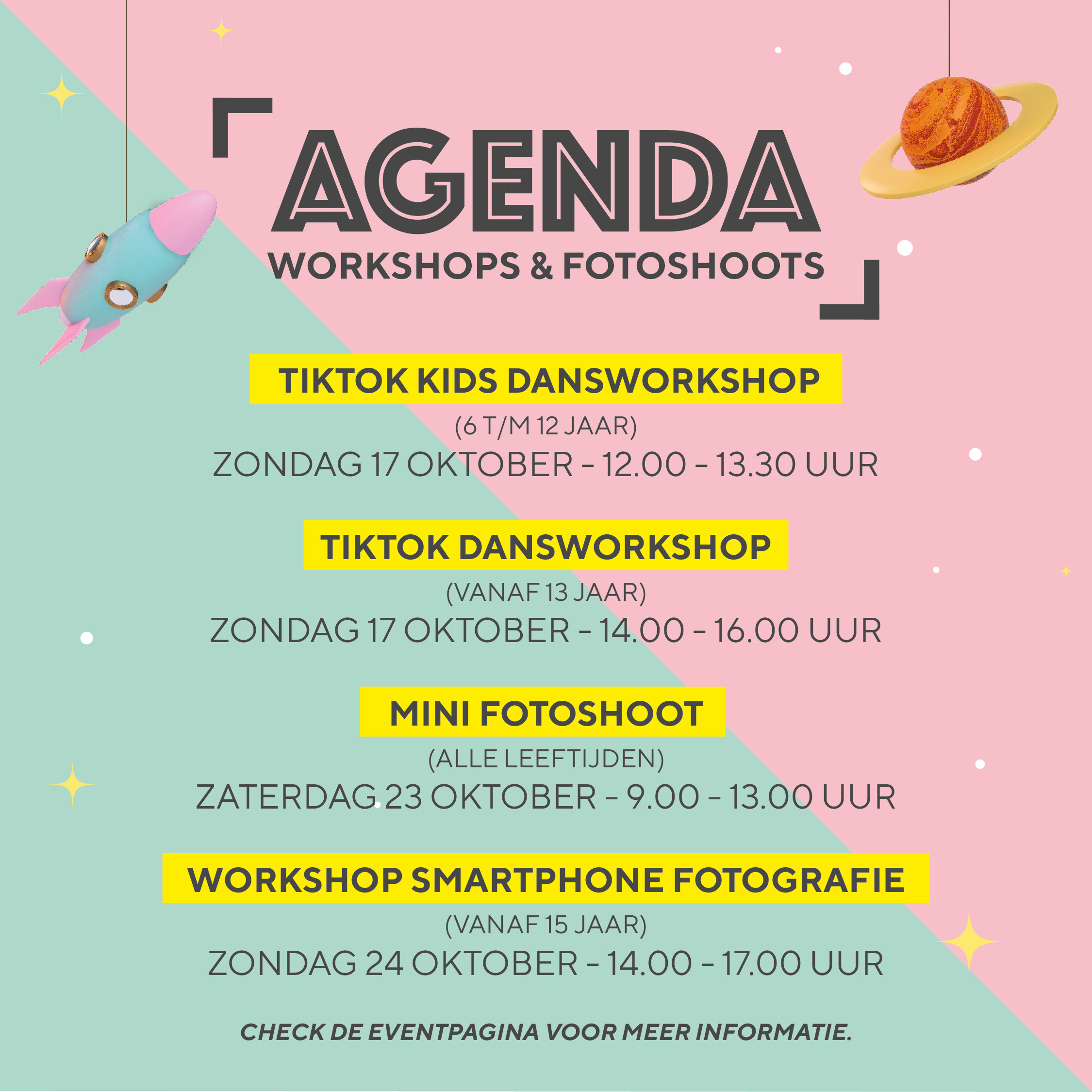 Agenda workshops en mini fotoshoots Likeland events